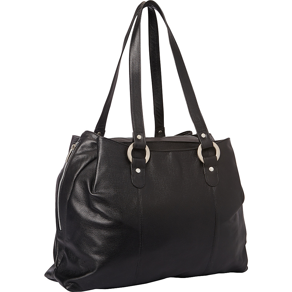 Piel Three Compartment Leather Tote Black - Piel Womens Business Bags - Work Bags & Briefcases, Women's Business Bags