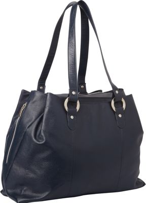 Piel Three Compartment Leather Tote Navy - Piel Women's Business Bags