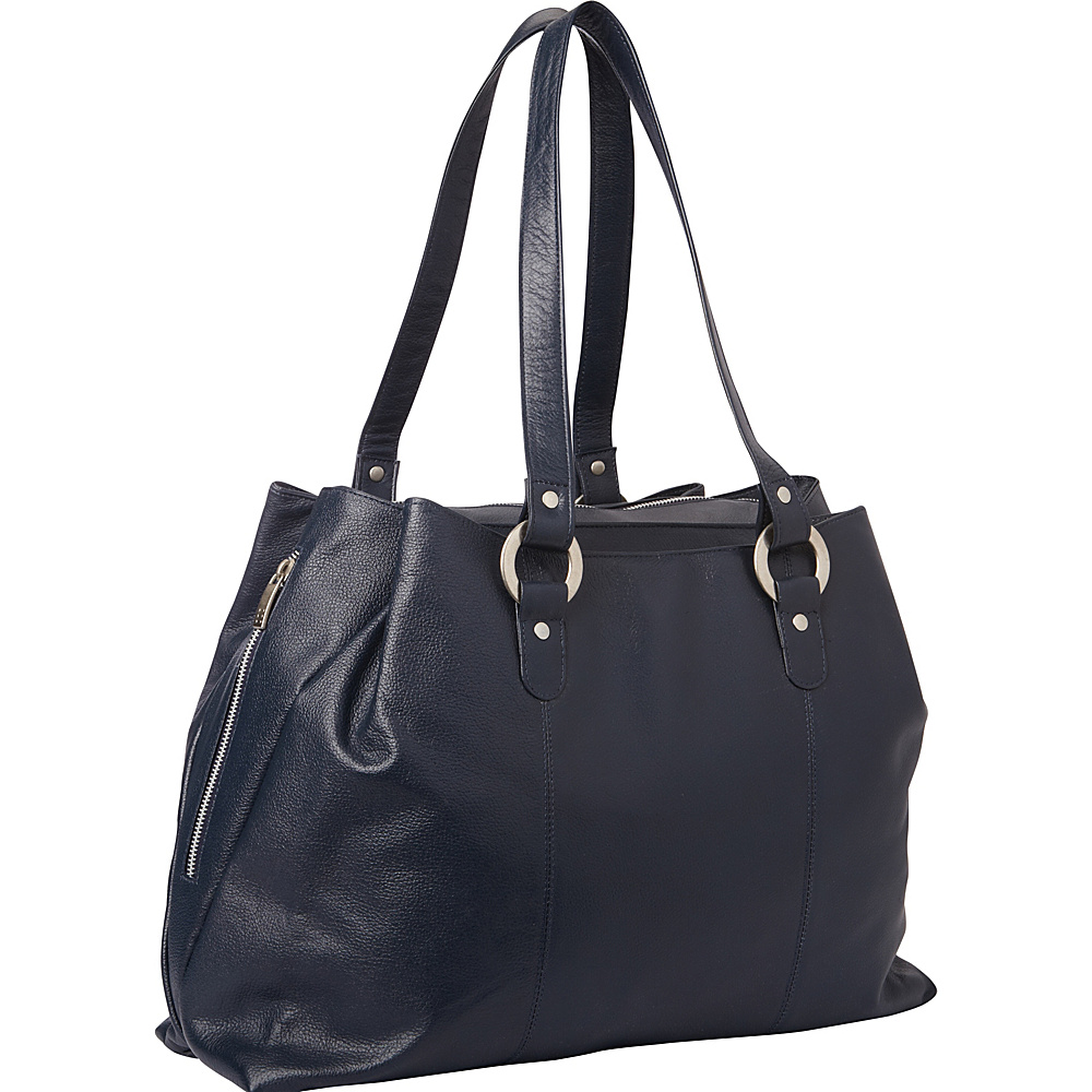 Piel Three Compartment Leather Tote Navy - Piel Womens Business Bags - Work Bags & Briefcases, Women's Business Bags