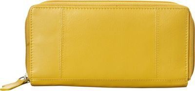 Mancini Leather Goods RFID Secure Collection: Ladies Double Zipper RFID Wallet Mustard - Mancini Leather Goods Women's Wallets