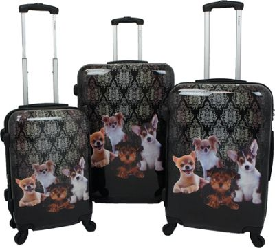 Chariot Doggies 3 Pc Hardside Spinner Set Doggies - Chariot Luggage Sets