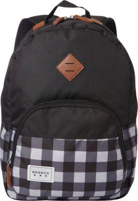 BENRUS Bulldog Backpack Grey Buffalo Check - BENRUS Everyday Backpacks