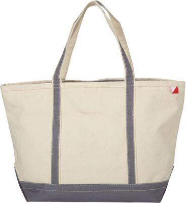 Shorebags Large Classic Pocketed Boat Tote Gray - Shorebags Fabric Handbags