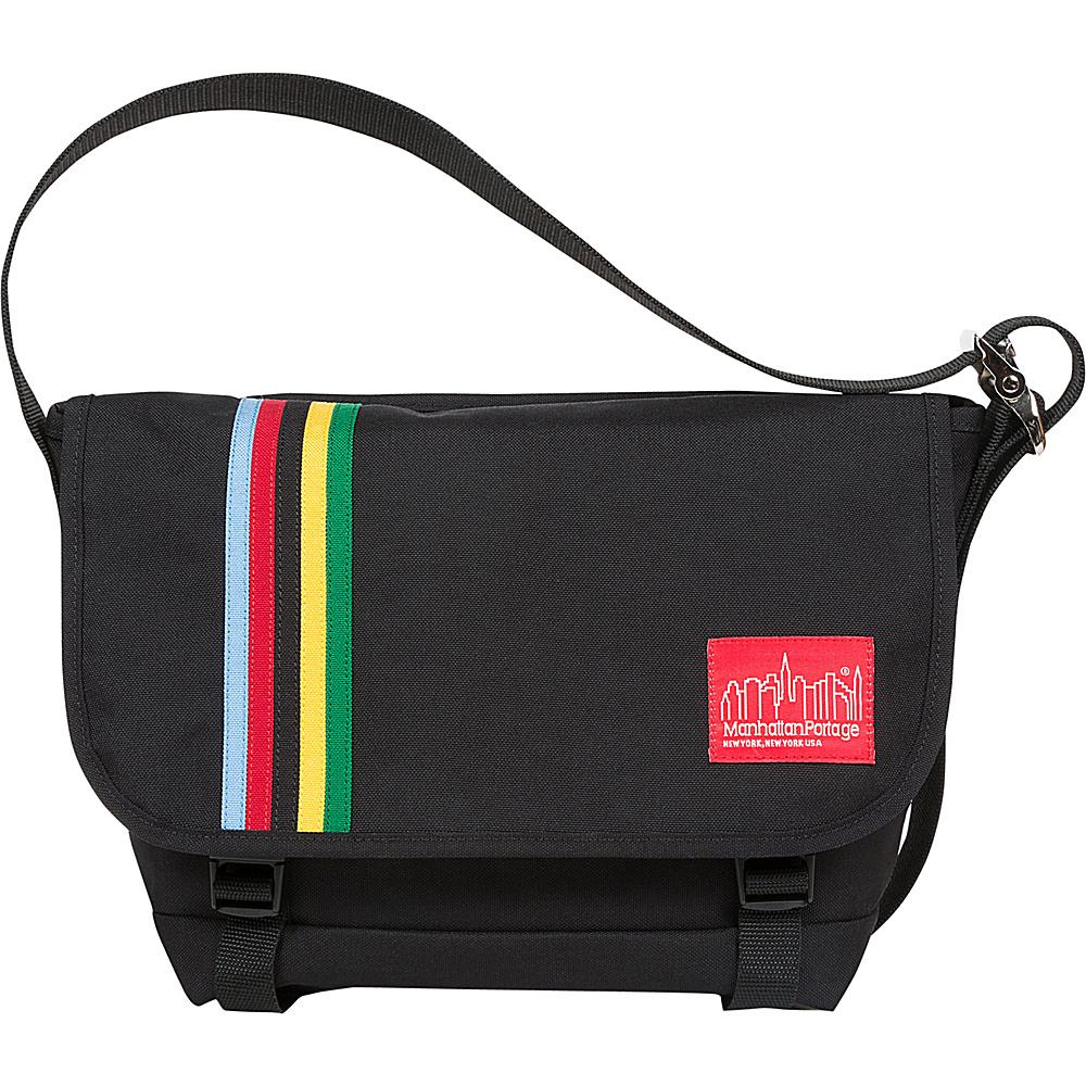 Manhattan Portage Rainbow Stripes Vintage Messenger Bag Jr Black - Manhattan Portage Messenger Bags - Work Bags & Briefcases, Messenger Bags
