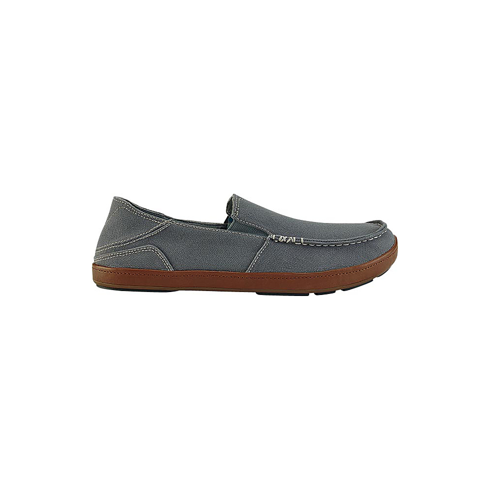 OluKai Mens Puhalu Canvas Slip-On 10 - Charcoal/Toffee - OluKai Mens Footwear - Apparel & Footwear, Men's Footwear