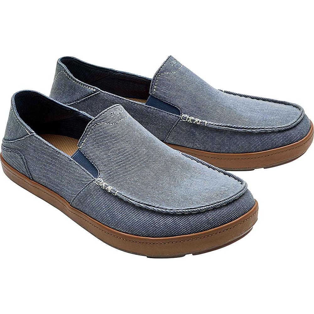 OluKai Mens Puhalu Canvas Slip-On 8 - Vintage Indigo/Tan - OluKai Mens Footwear - Apparel & Footwear, Men's Footwear
