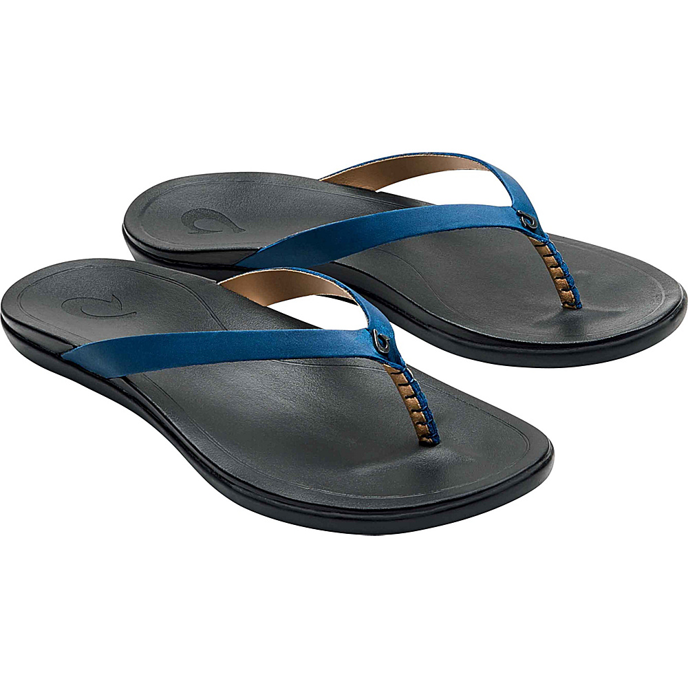 OluKai Womens HoOpio Leather Sandal 9 - Legion Blue/Black - OluKai Womens Footwear - Apparel & Footwear, Women's Footwear