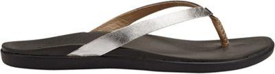 OluKai Womens Ho'Opio Leather Sandal 11 - Silver/Charcoal...