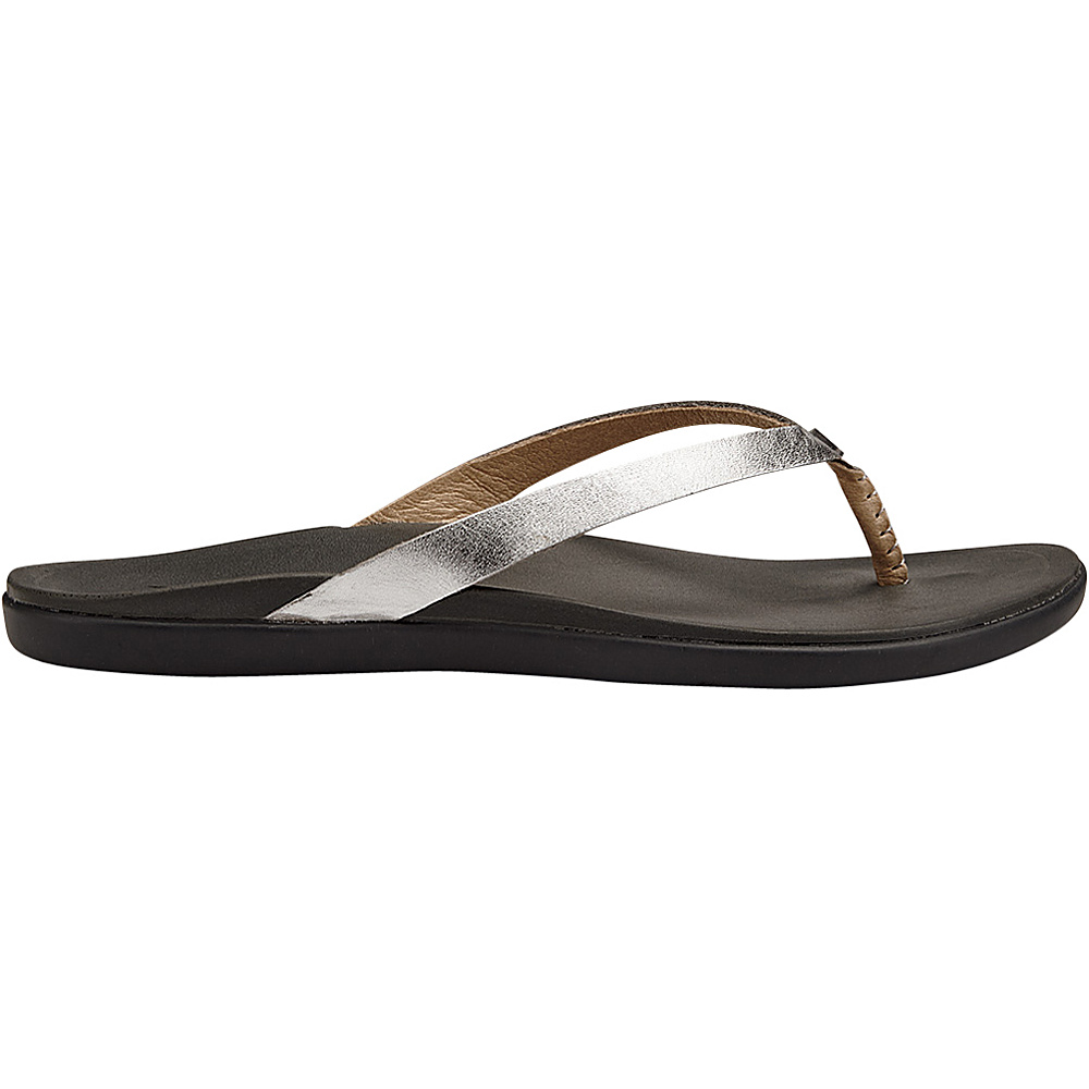 OluKai Womens HoOpio Leather Sandal 5 - Silver/Charcoal - OluKai Womens Footwear - Apparel & Footwear, Women's Footwear