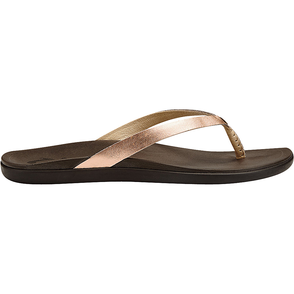 OluKai Womens HoOpio Leather Sandal 5 - Copper/Dark Java - OluKai Womens Footwear - Apparel & Footwear, Women's Footwear