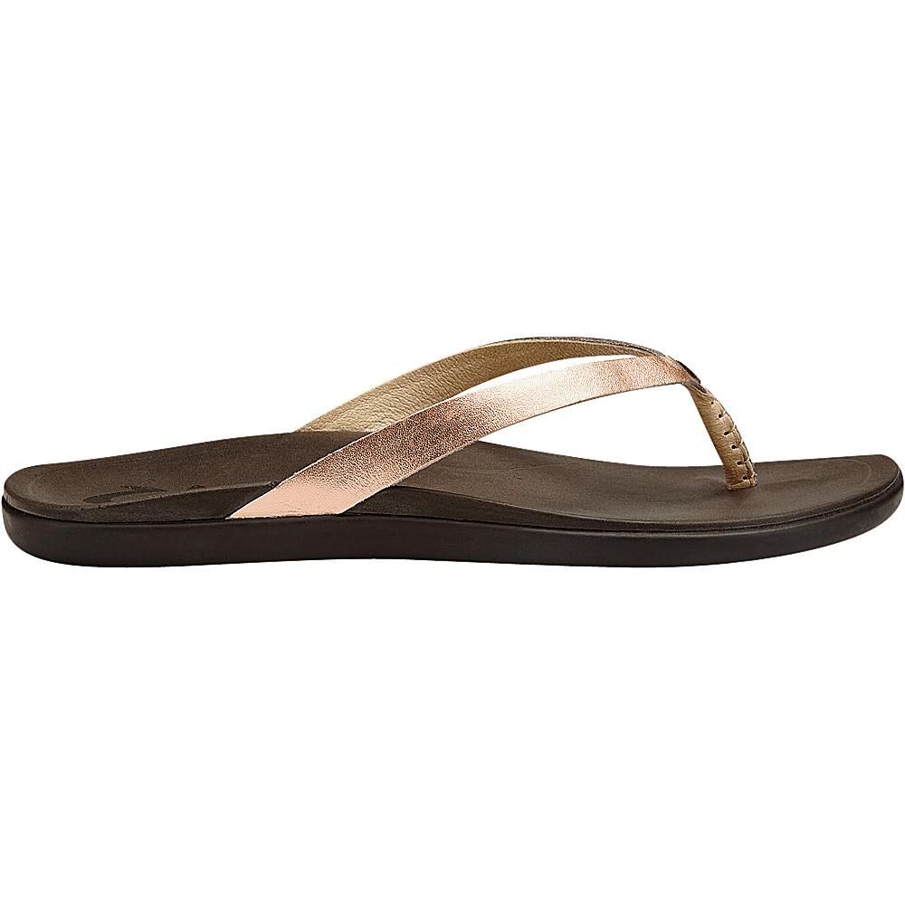OluKai Womens HoOpio Leather Sandal 6 - Copper/Dark Java - OluKai Womens Footwear - Apparel & Footwear, Women's Footwear