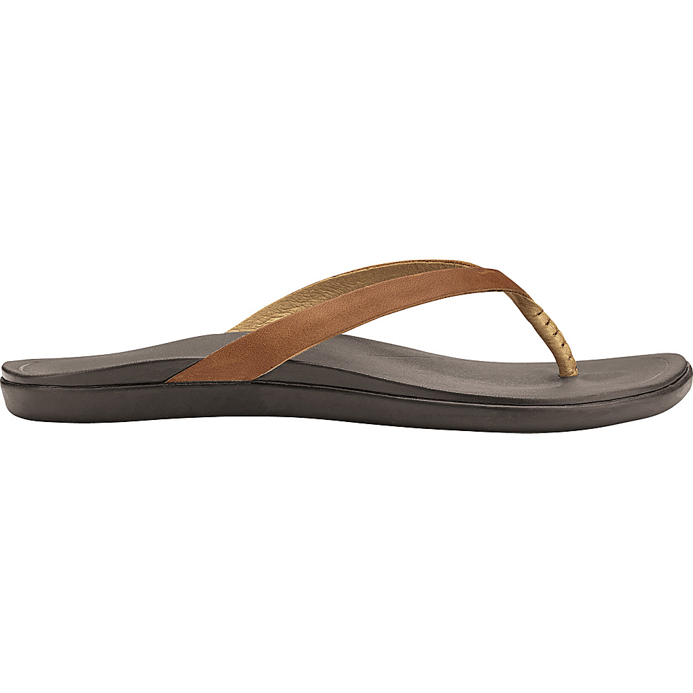 OluKai Womens HoOpio Leather Sandal 5 - Sahara/Dark Java - OluKai Womens Footwear - Apparel & Footwear, Women's Footwear
