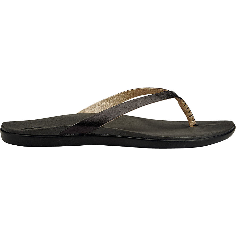 OluKai Womens HoOpio Leather Sandal 5 - Onyx/Black - OluKai Womens Footwear - Apparel & Footwear, Women's Footwear