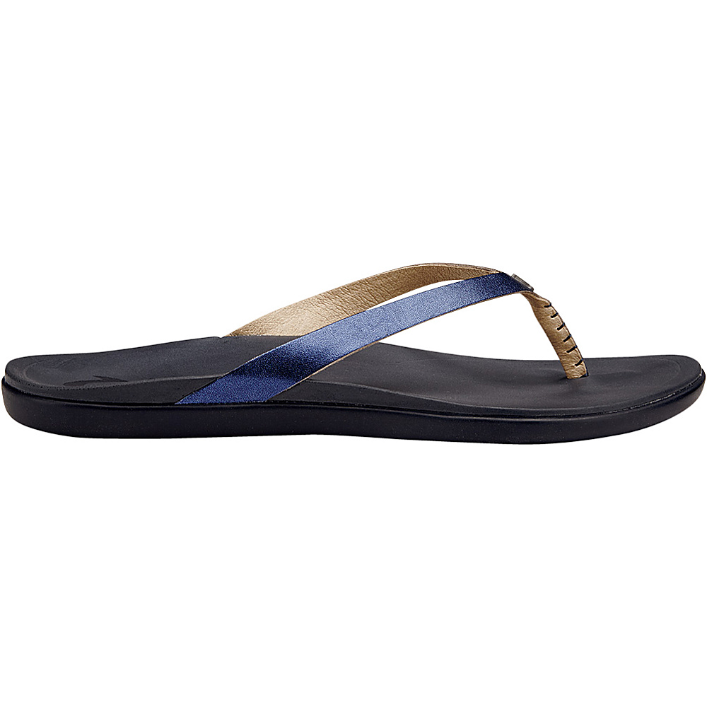 OluKai Womens HoOpio Leather Sandal 9 - Midnight/Trench Blue - OluKai Womens Footwear - Apparel & Footwear, Women's Footwear
