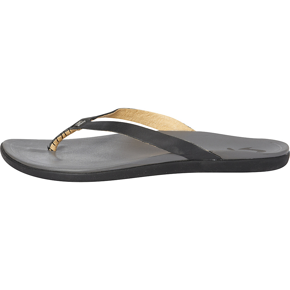 OluKai Womens HoOpio Leather Sandal 5 - Black/Charcoal - OluKai Womens Footwear - Apparel & Footwear, Women's Footwear