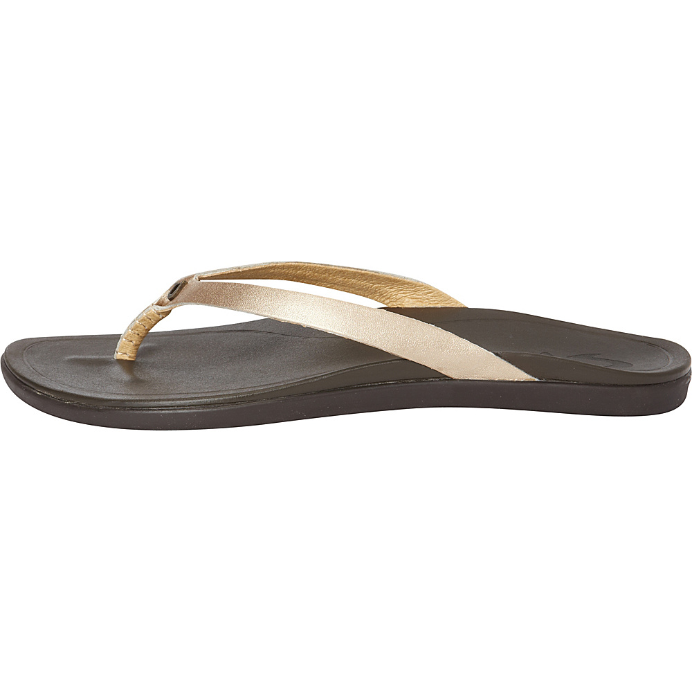OluKai Womens HoOpio Leather Sandal 10 - Bubbly/Dark Java - OluKai Womens Footwear - Apparel & Footwear, Women's Footwear