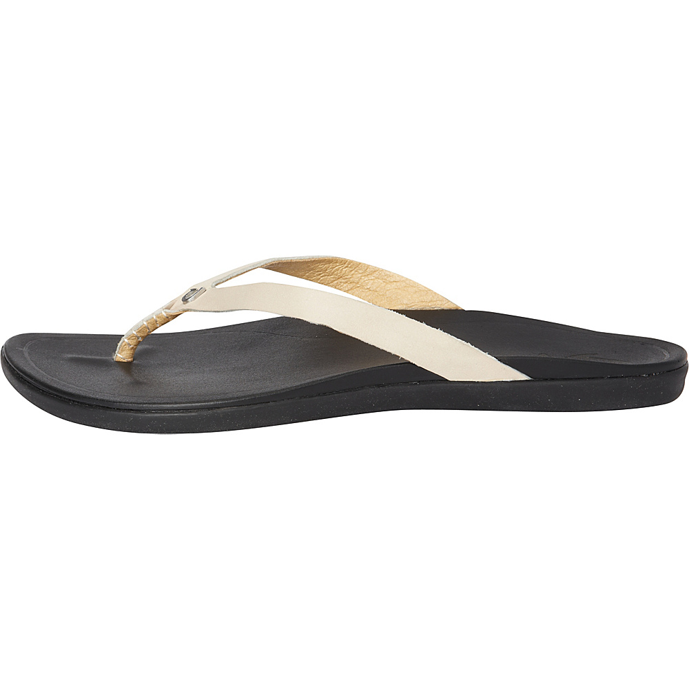 OluKai Womens HoOpio Leather Sandal 9 - Tapa/Black - OluKai Womens Footwear - Apparel & Footwear, Women's Footwear