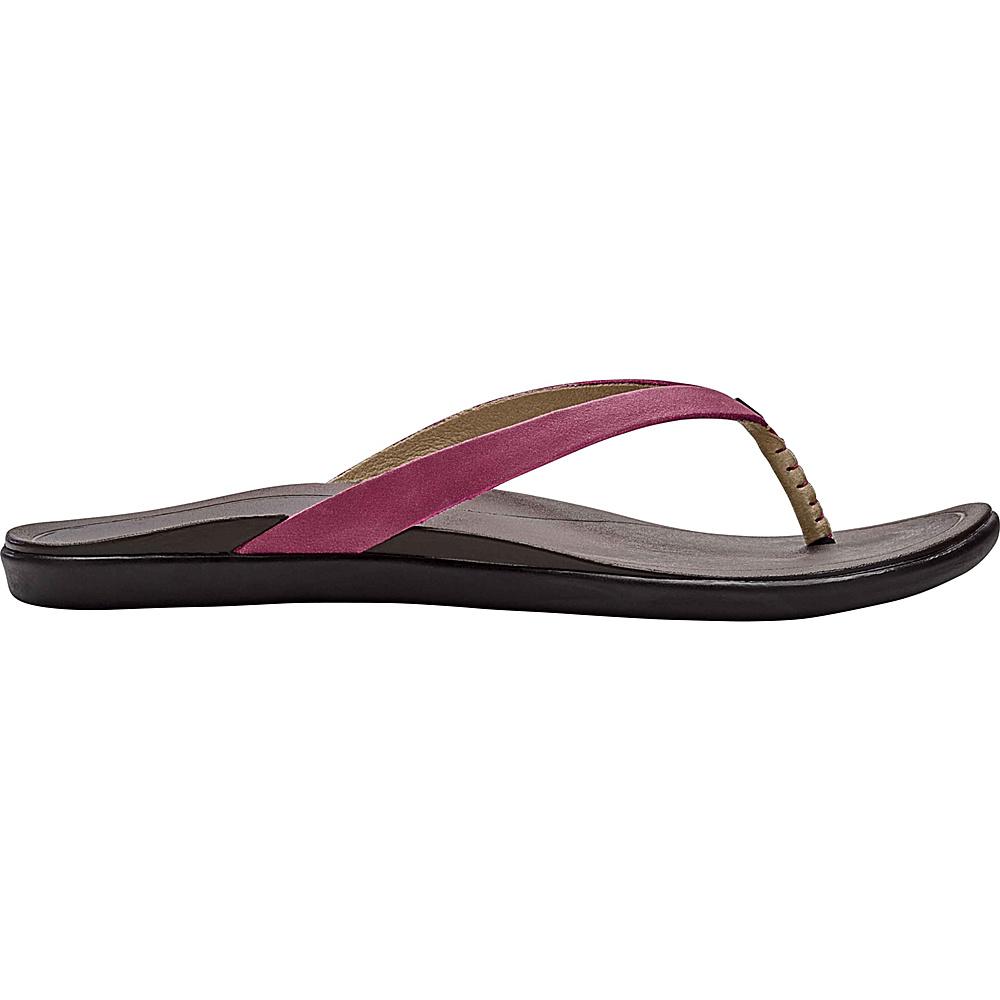 OluKai Womens HoOpio Leather Sandal 11 - Dark Red/Dark Java - OluKai Womens Footwear - Apparel & Footwear, Women's Footwear