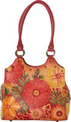 ANNA by Anuschka Hand Painted Triple Compartment Medium Satchel Summer Bloom - ANNA by Anuschka Leather Handbags