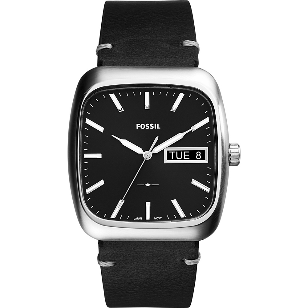 Fossil Rutherford 3-hand Day-date Leather Watch Black - Fossil Watches - Fashion Accessories, Watches