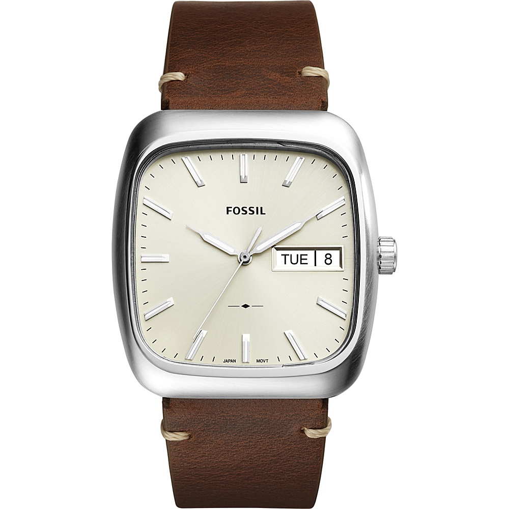 Fossil Rutherford 3-hand Day-date Leather Watch Brown - Fossil Watches - Fashion Accessories, Watches