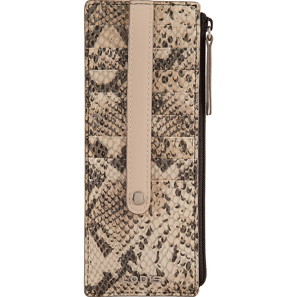 Lodis Kate Exotic Credit Card Case with Zipper Pocket Black/Taupe - Lodis Womens Wallets - Women's SLG, Women's Wallets