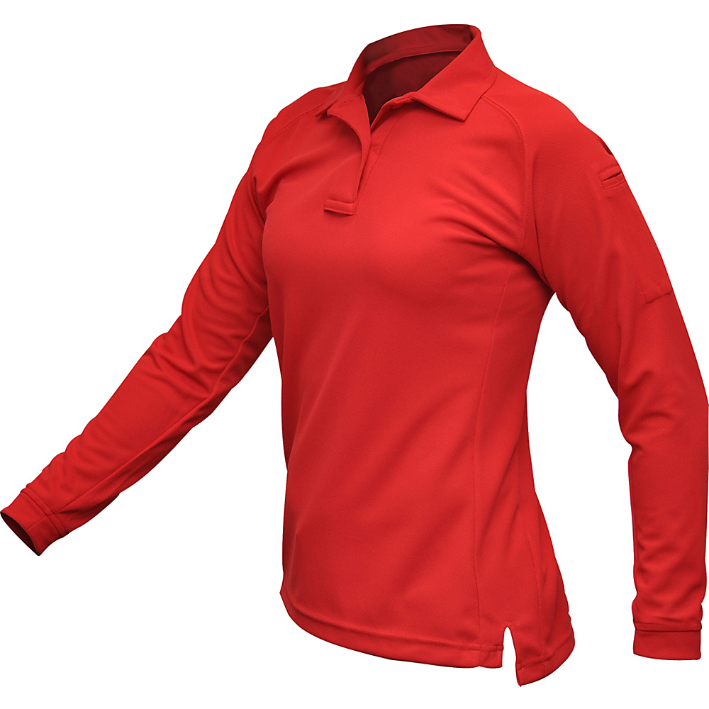 Vertx Womens Coldblack Long Sleeve Polo XS - Red - Vertx Womens Apparel - Apparel & Footwear, Women's Apparel