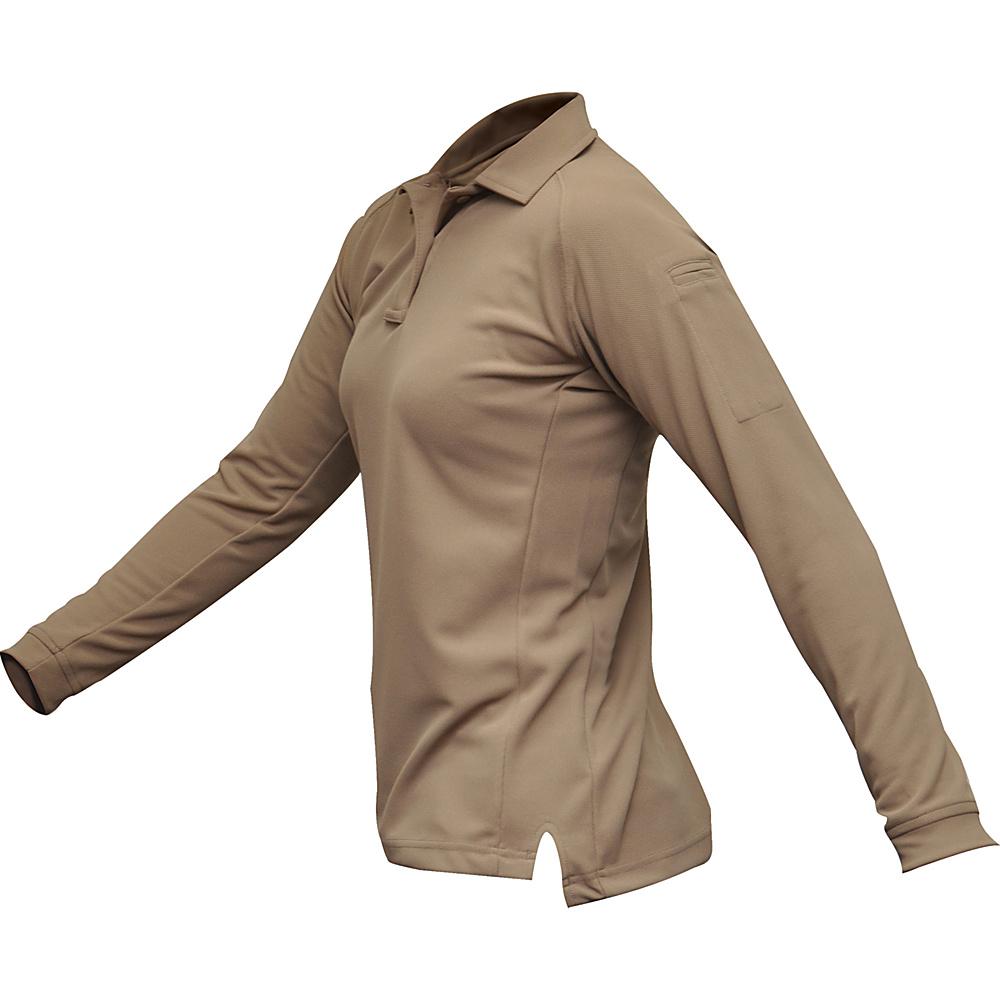 Vertx Womens Coldblack Long Sleeve Polo L - Tan - Vertx Womens Apparel - Apparel & Footwear, Women's Apparel
