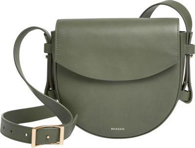 Skagen Lobelle Leather Saddle Bag Agave - Skagen Leather Handbags