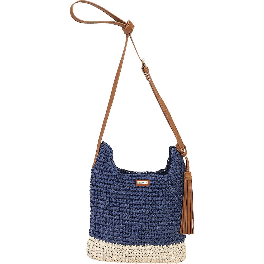 Sun N Sand Natural Crochet Handbag Crossbody Navy - Sun N Sand Straw Handbags - Handbags, Straw Handbags