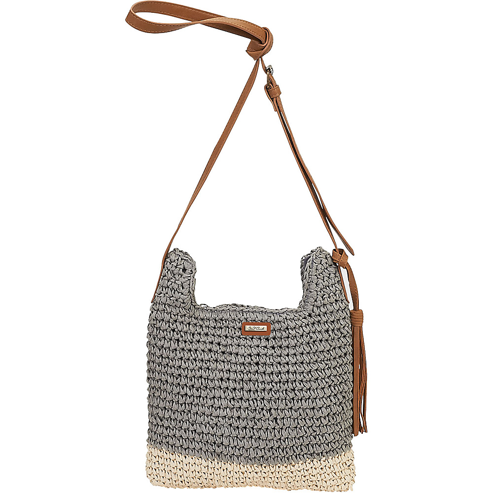 Sun N Sand Natural Crochet Handbag Crossbody Grey - Sun N Sand Straw Handbags - Handbags, Straw Handbags