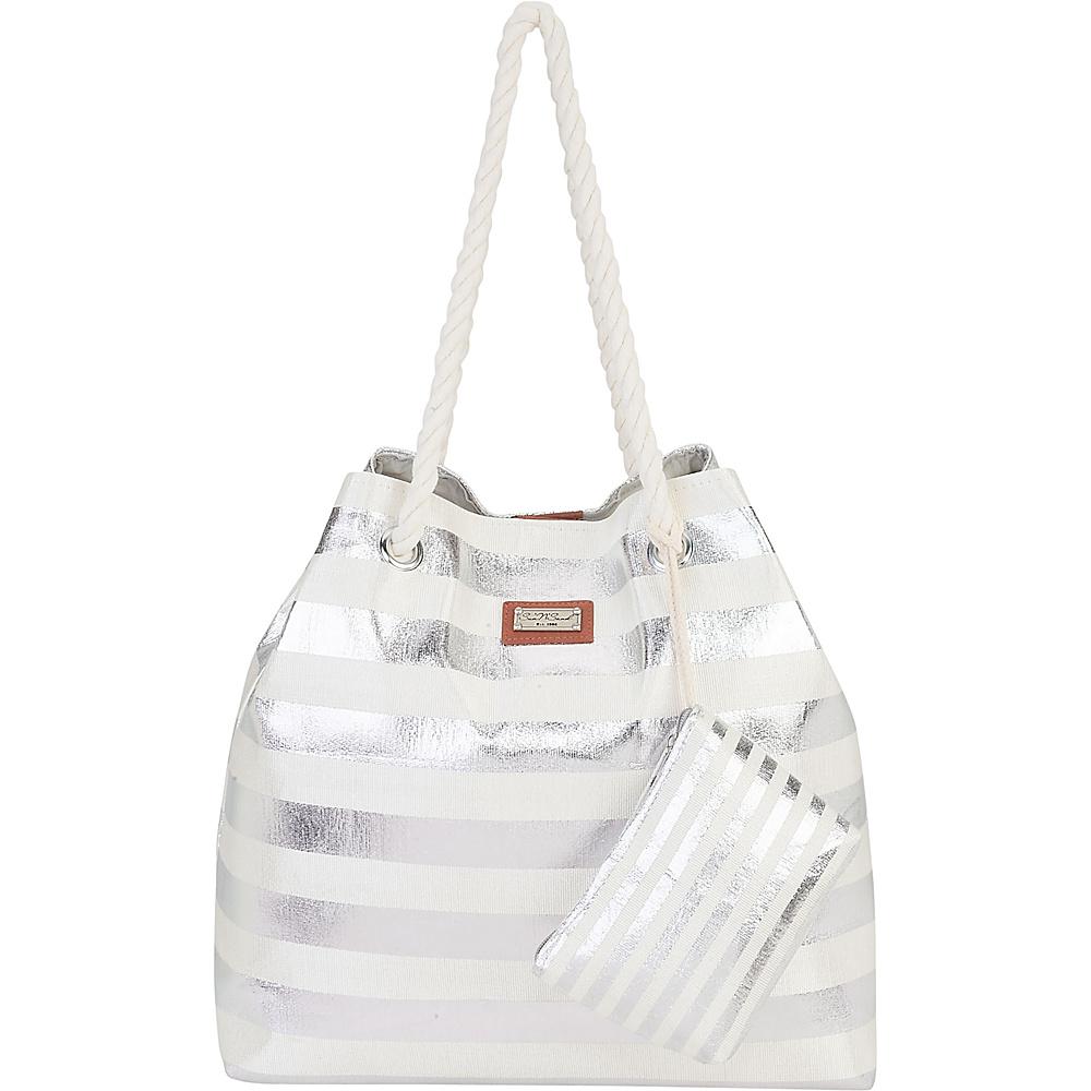 Sun N Sand Beach Bound Beach Canvas Tote Silver - Sun N Sand Fabric Handbags - Handbags, Fabric Handbags
