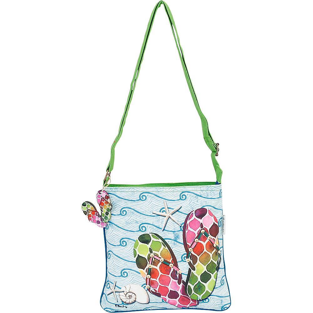 Sun N Sand Paul Brent Artistic Canvas Crossbody Green Wave Flip Flops - Sun N Sand Leather Handbags - Handbags, Leather Handbags