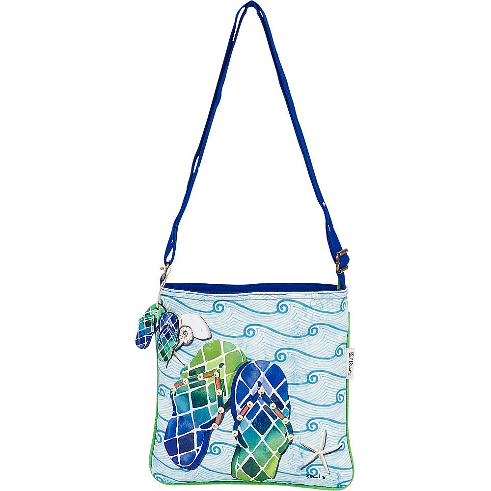 Sun N Sand Paul Brent Artistic Canvas Crossbody Blue Wave Flip Flops - Sun N Sand Leather Handbags - Handbags, Leather Handbags