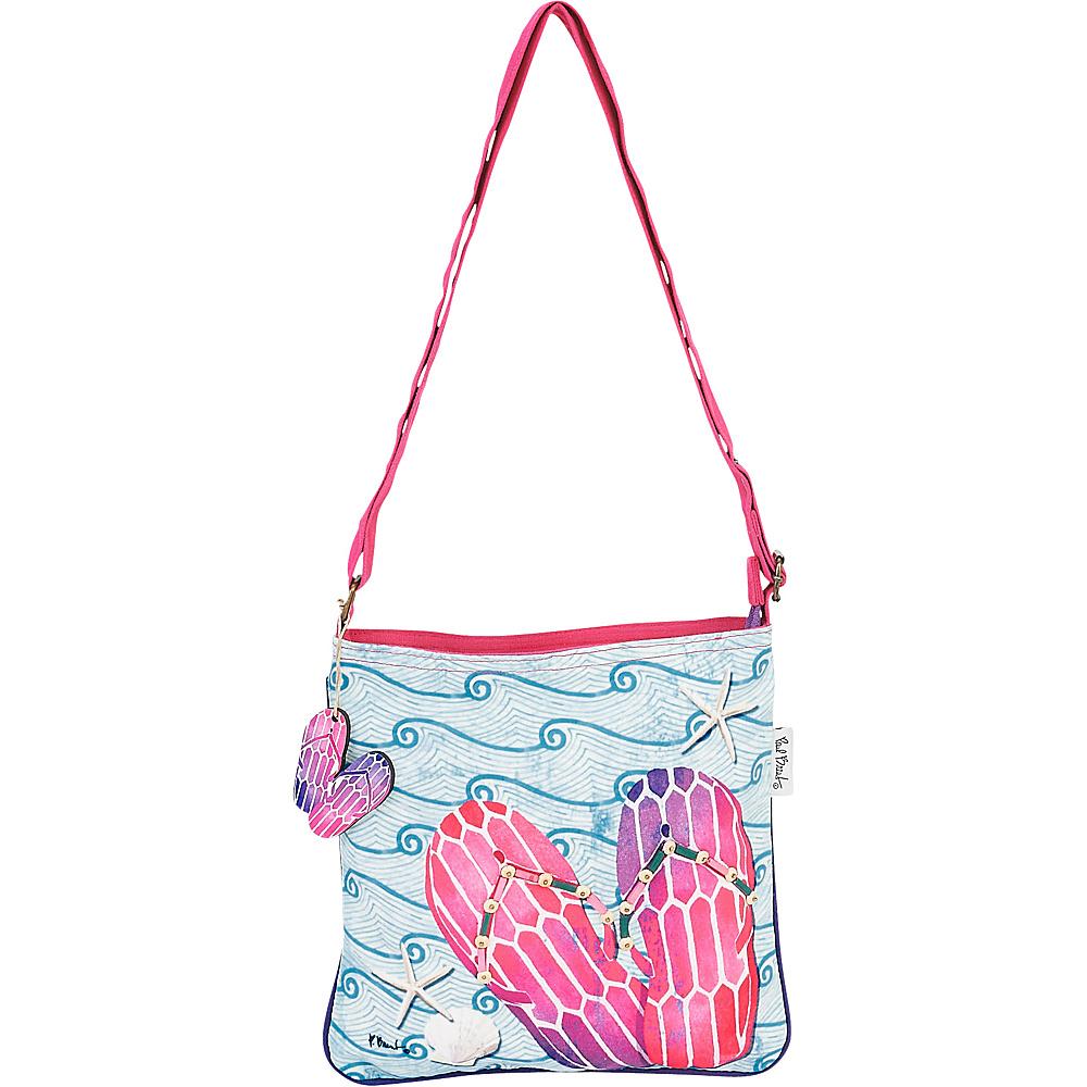 Sun N Sand Paul Brent Artistic Canvas Crossbody Pink Wave Flip Flops - Sun N Sand Leather Handbags - Handbags, Leather Handbags