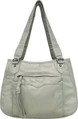 Bueno Pearlized Washed Satchel Dove Grey - Bueno Manmade Handbags