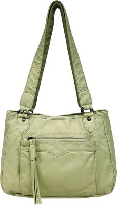Bueno Pearlized Washed Satchel Pale Green - Bueno Manmade Handbags
