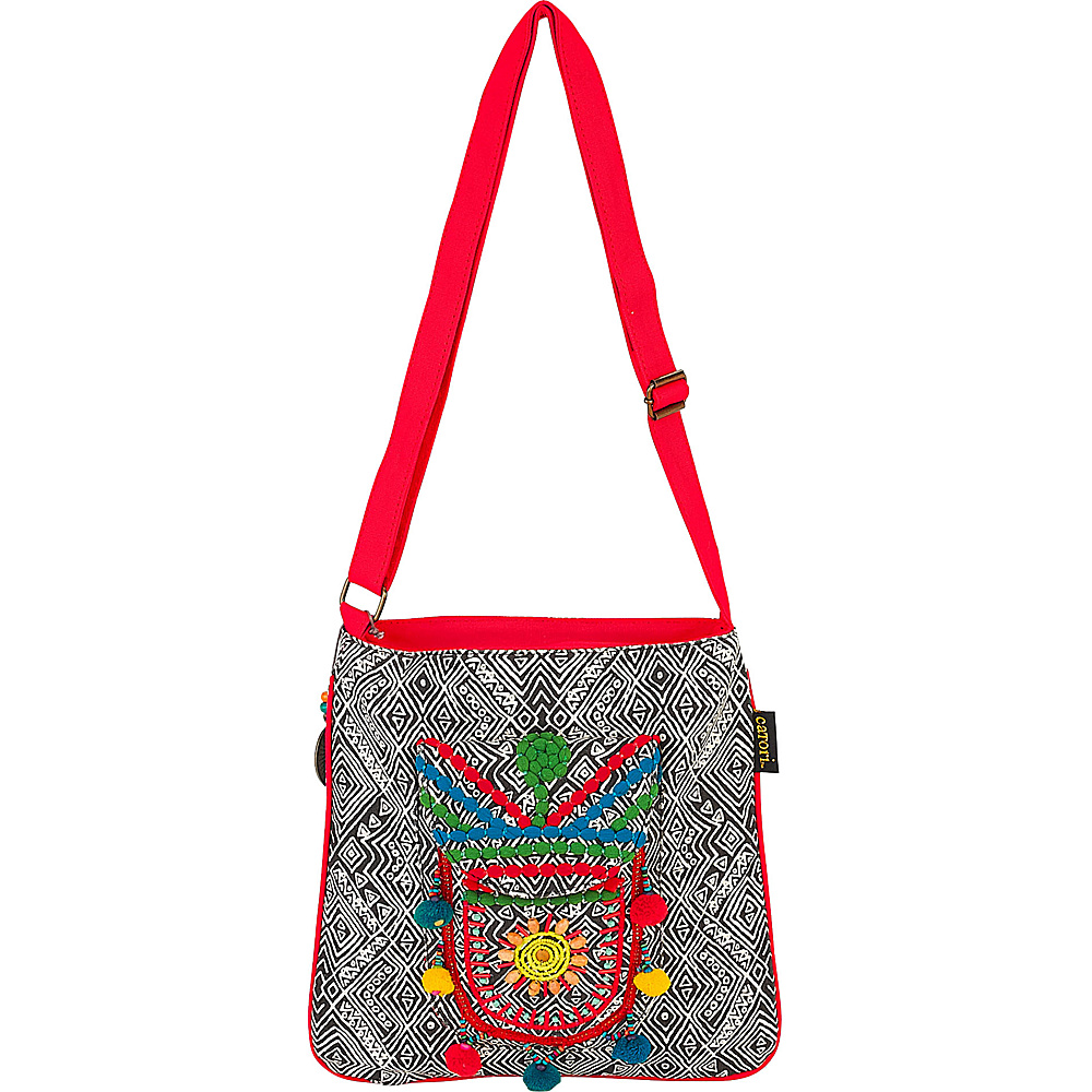 Sun N Sand Amoli Crossbody Black Multi - Sun N Sand Fabric Handbags - Handbags, Fabric Handbags