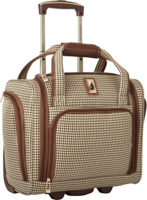 London Fog Cambridge 15 inch 2 Wheel Under the Seat Bag Olive Plaid - London Fog Softside Carry-On