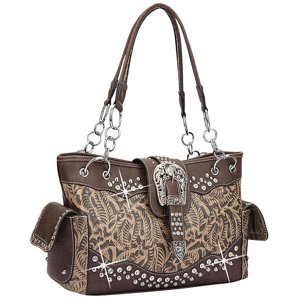 Dasein Western Style Rhinestone Buckle Camo Handbag Black/Coffee - Dasein Manmade Handbags - Handbags, Manmade Handbags