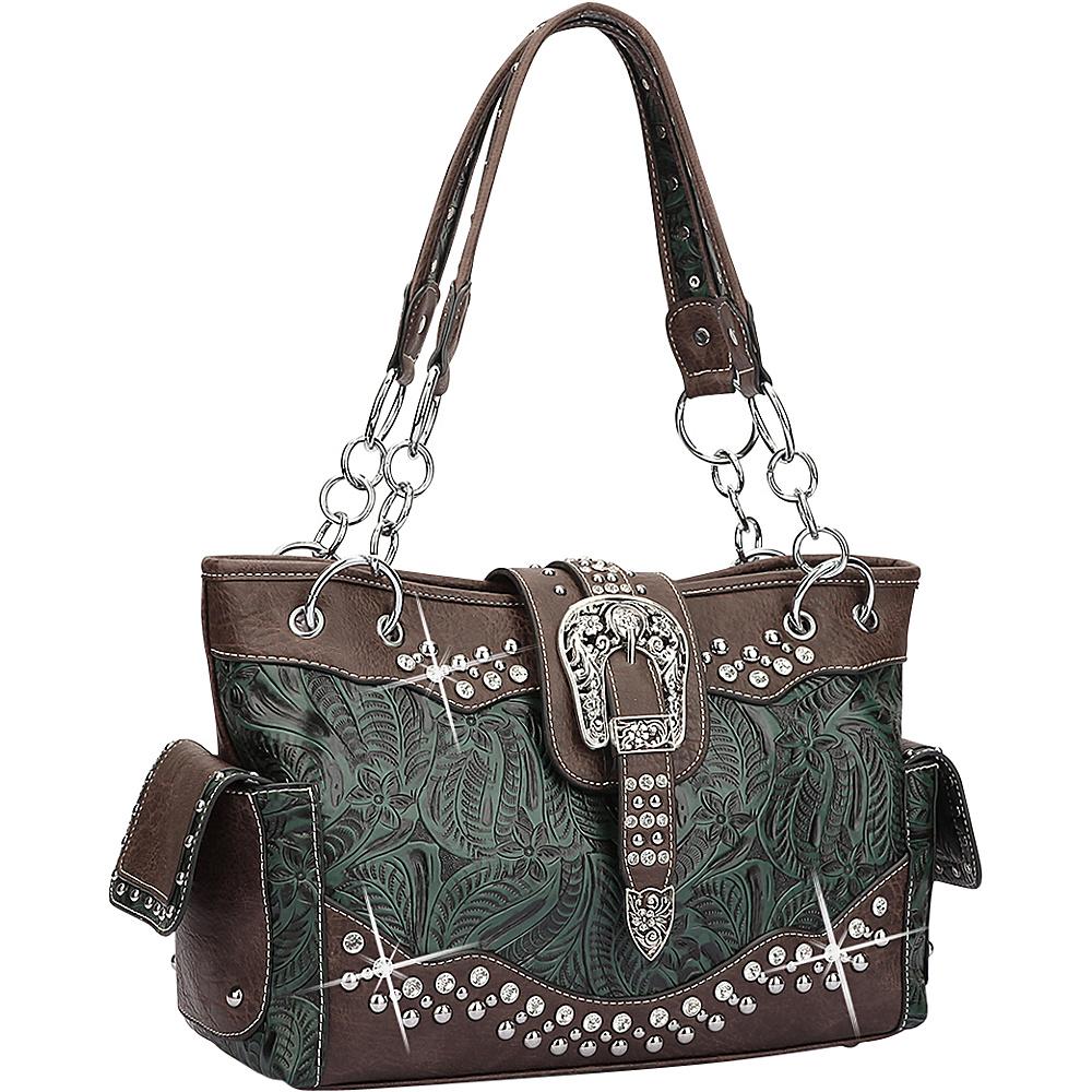 Dasein Western Style Rhinestone Buckle Camo Handbag Dark Green/Coffee - Dasein Manmade Handbags - Handbags, Manmade Handbags