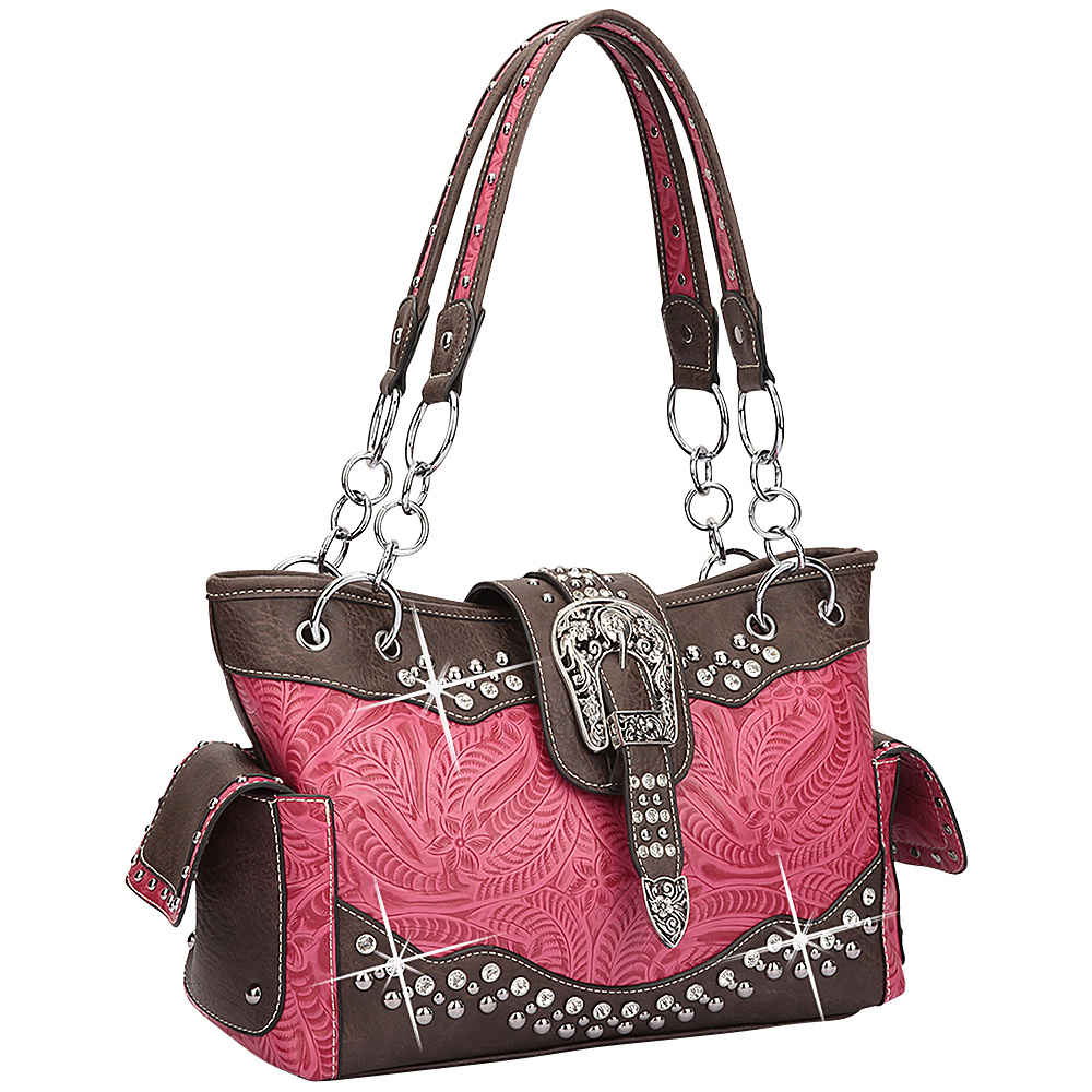 Dasein Western Style Rhinestone Buckle Camo Handbag Fuchsia/Coffee - Dasein Manmade Handbags - Handbags, Manmade Handbags