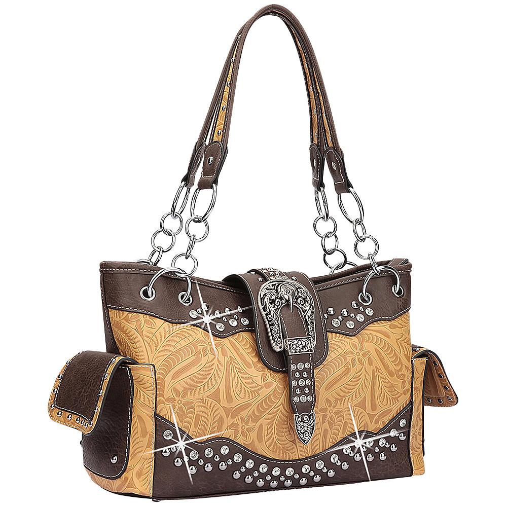 Dasein Western Style Rhinestone Buckle Camo Handbag Mustard/Coffee - Dasein Manmade Handbags - Handbags, Manmade Handbags
