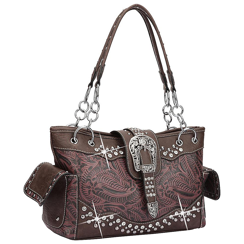 Dasein Western Style Rhinestone Buckle Camo Handbag Wine/Coffee - Dasein Manmade Handbags - Handbags, Manmade Handbags