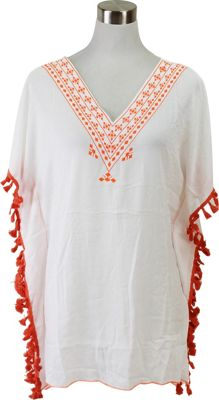 Lava Accessories Embroidered Tassel Tunic One Size  - Peach - Lava Accessories Women's Apparel