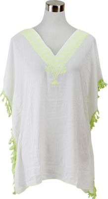 Lava Accessories Embroidered Tassel Tunic One Size  - Chartreuse - Lava Accessories Women's Apparel