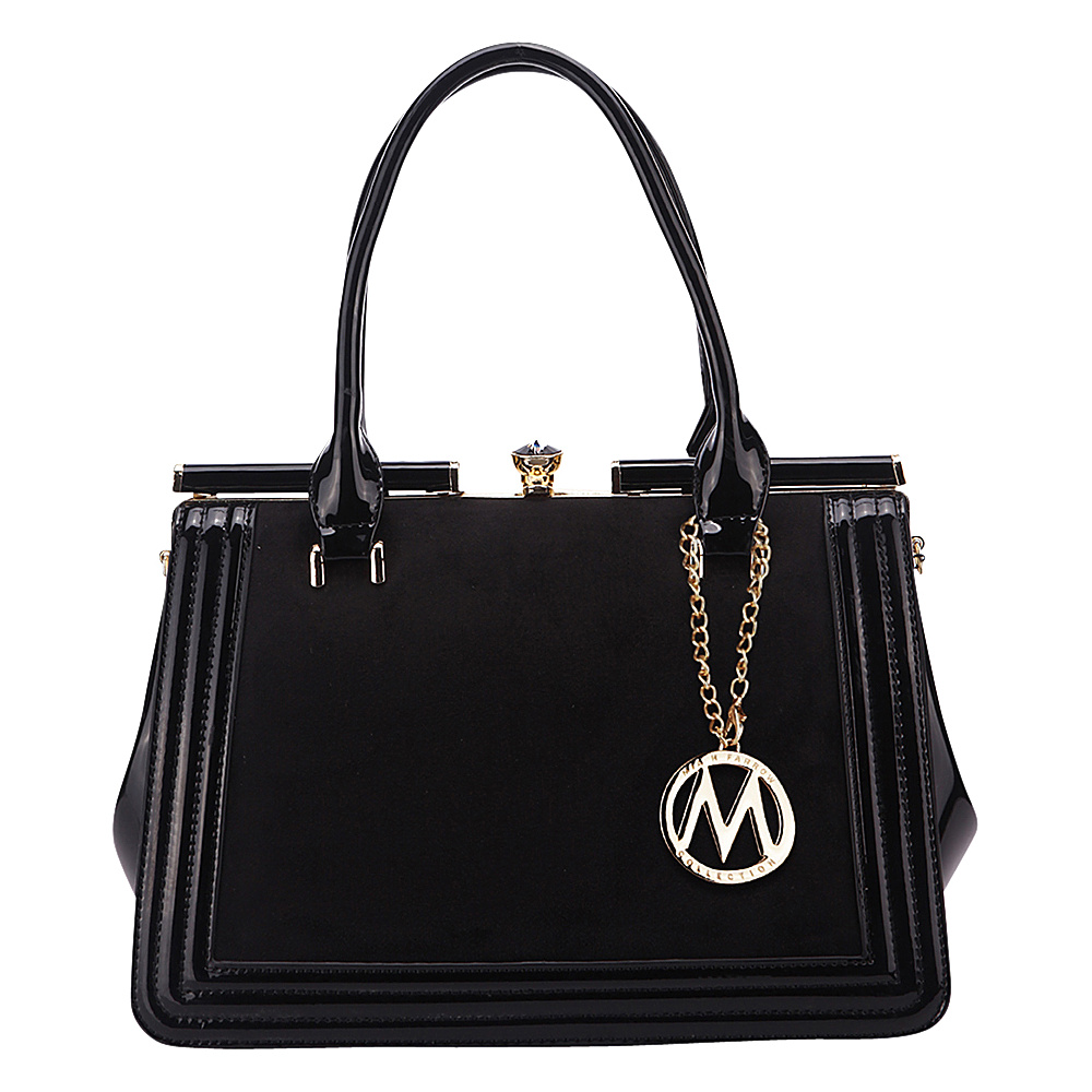 MKF Collection Marigold Kiss-Lock Patent Celebrity Style Satchel Black - MKF Collection Manmade Handbags - Handbags, Manmade Handbags