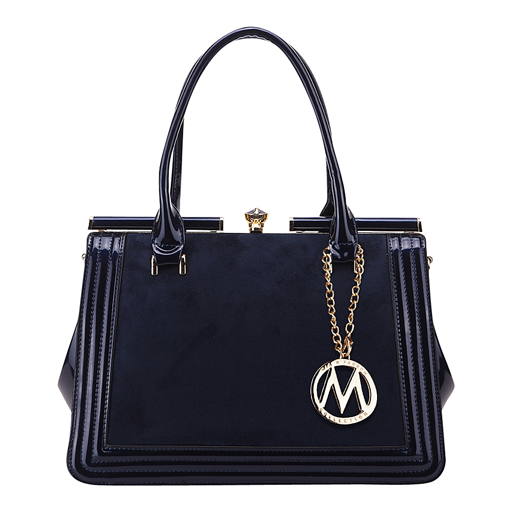 MKF Collection Marigold Kiss-Lock Patent Celebrity Style Satchel Blue - MKF Collection Manmade Handbags - Handbags, Manmade Handbags