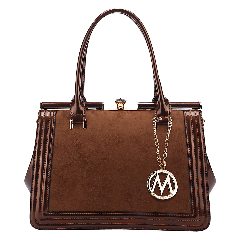 MKF Collection Marigold Kiss-Lock Patent Celebrity Style Satchel Bronze - MKF Collection Manmade Handbags - Handbags, Manmade Handbags