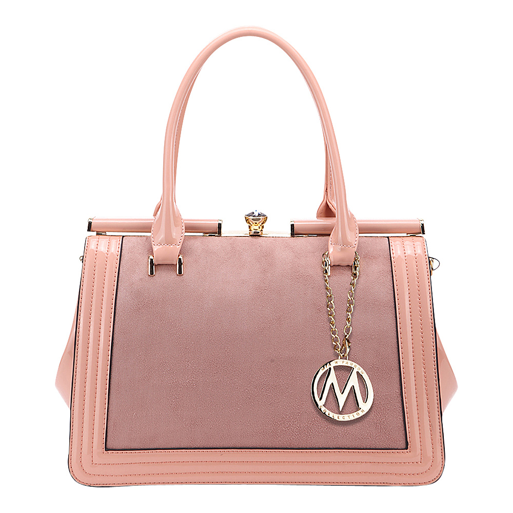 MKF Collection by Mia K. Farrow Marigold Kiss-Lock Patent Celebrity Style Satchel Peach - MKF Collection by Mia K. Farrow Manmade Handbags - Handbags, Manmade Handbags